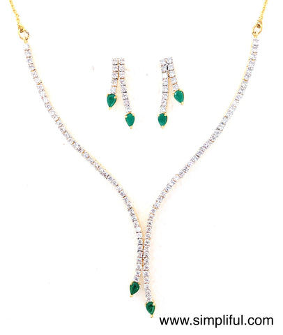 Designer CZ Necklace and Earring set - Simpliful