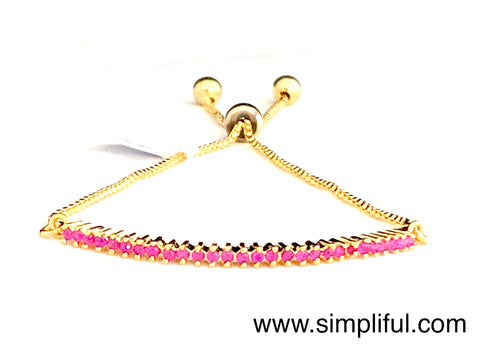Micro Ruby stone adjustable Bracelet - Simpliful