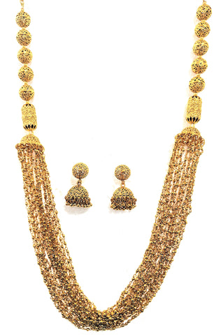 Bold antique gold finish multi stranded bead necklace and jhumka earring set - Simpliful