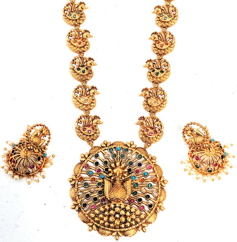 Traditional Matte gold finish Dancing Peacock Pendant medium length Necklace and Jhumka Earring set