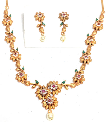 Traditional flower gold Matte finish Choker Necklace and Stud Earring set