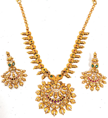Traditional Gold Matte finish Ramleela pendant heart choker Necklace and stud Earring set with CZ stones