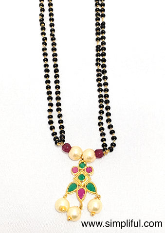Little Traditional Kemp Pendant Mangalsutra - Double Chain - Simpliful