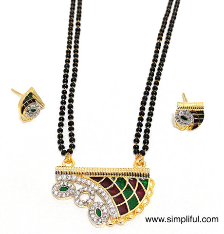 Meenakari Pendant Mangalsutra with small stud Earrings set - Simpliful
