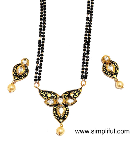 Inverted Teardrop Antique gold kundan stone Pendant Mangalsutra with Earring Set - Simpliful