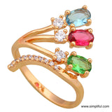 Party wear Gold plated Oval stone CZ Finger ring - Simpliful