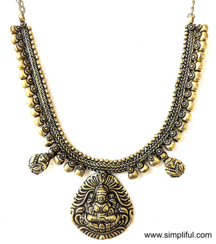 Antique brass finish Oxidized Goddess Lakshmi Pendant Necklace - Simpliful