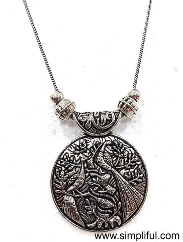 Silver oxidized Pendant Necklace - Circle Different designs available - Simpliful