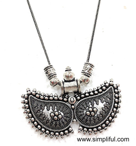 Silver oxidized Designer Pendant Necklace -  Different designs available - Simpliful