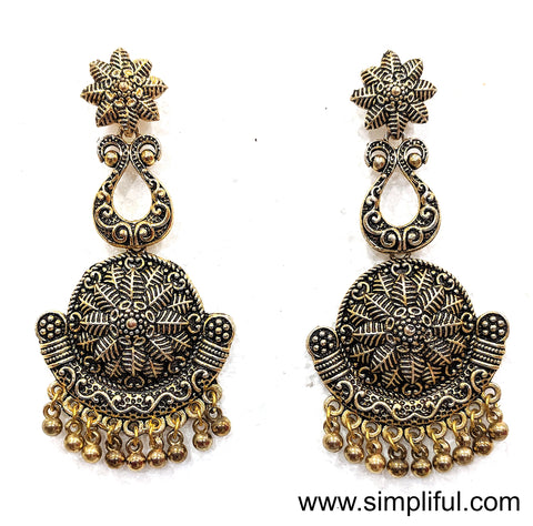 Antique gold finish designer Earring - Simpliful