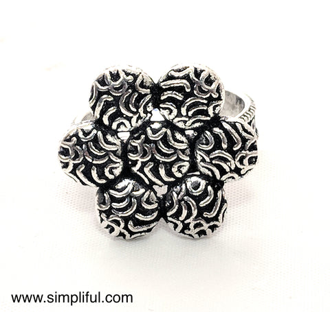 Oxidized Flower Adjustable Finger ring - Simpliful