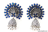 Large Fan style stud Oxidized Jhumka Earring - Simpliful