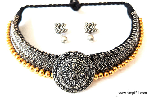 Bold Oxidized Choker style dori Necklace and Earring set - Simpliful