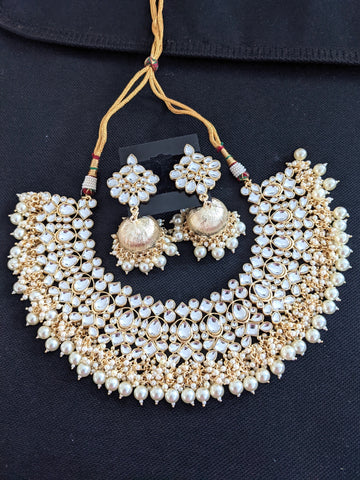 Statement Yellow gold Kundan stone Choker Necklace and Jhumka Earrings set