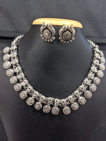 Oxidized silver Durga Maa Choker Necklace and Stud Earrings set