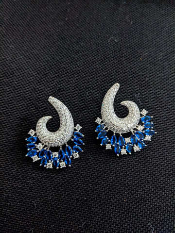Stylish Statement Arc design CZ earrings