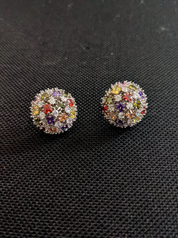 Multi color round design platinum finish stud earrings