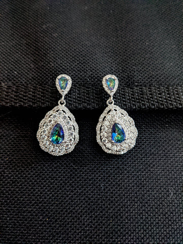 Teardrop design Sparkling CZ earrings