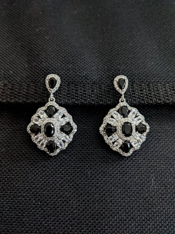 Curvy Diamond design Sparkling CZ earrings