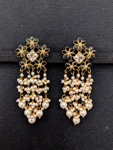 Flower Stud Pearl cluster Tassel style Polki Earrings
