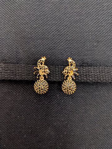 Peacock design Black CZ stone Small Stud Earrings