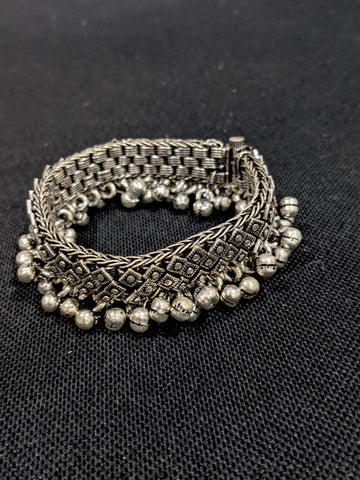Oxidized Silver Ghunghru bead dangling Bangle Bracelets