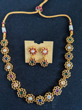 Multi color Navaratna Replica choker necklace and earrings set