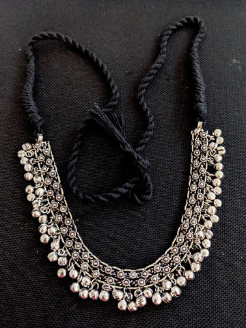 Ghunghru bead dangling Oxidized Silver Choker Necklace