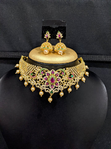 Grand Flower design Choker necklace and Jhumka Earrings set