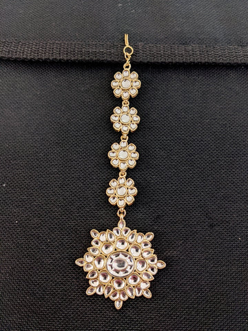Kundan glass stone pasted Flower Maang Tikka