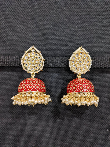 Jhumka / Large Indian Earrings / Enamel Jhumki Earrings