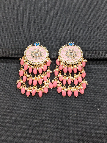 Oval Stud with Tassel style enamel Earrings