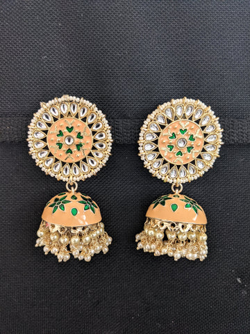 Large Kundan Stud Jhumka / Indian Earrings / Enamel Jhumki Earrings