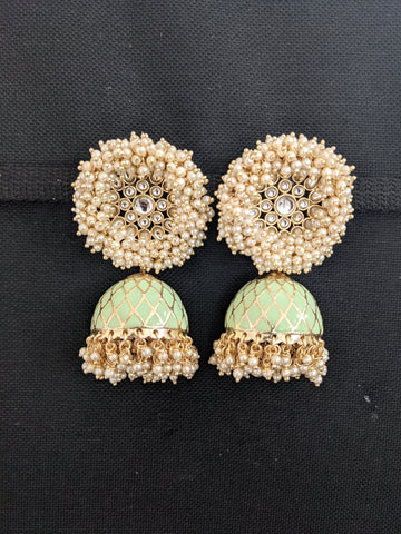 Pearl cluster Stud Jhumka / Large Indian Earrings / Enamel Jhumki Earrings