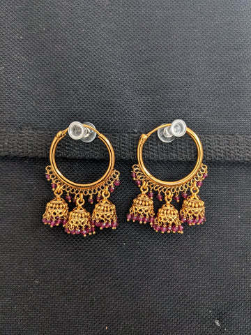 Multiple jhumka hanging Polki stone Hoop Earrings