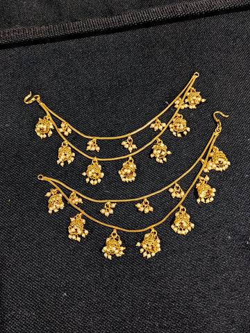 Jhumka dangling Double layer Earrings chain / Maatal / Kaan Chain