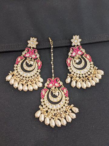 XL size Paecock design Kundan Maang Tikka and Earrings Combo