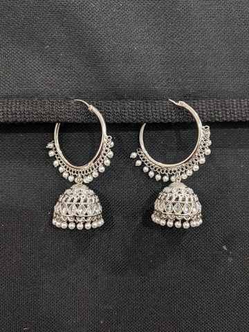 Silver rhodium plated Large Ring Bali Jhumka Earrings