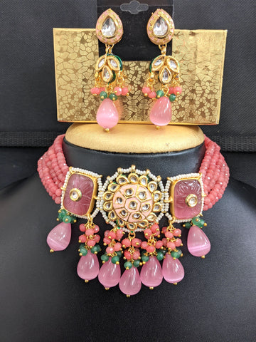 Multi stranded crystal bead Kundan Choker Necklace Earrings set