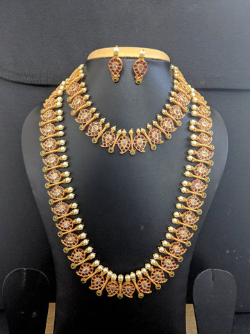 Classic Mango design long Haram Choker combo necklace and earrings set