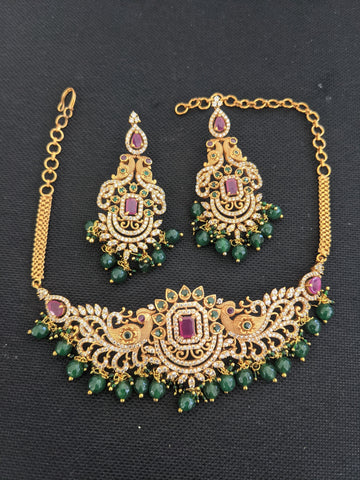 Dual Peacock center piece Choker Necklace and Large Earrings Set