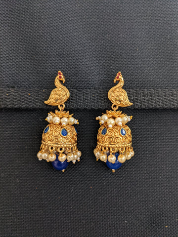 Bright Gold plated Peacock Jhumka Earrings