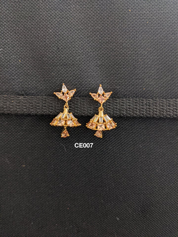 CLEARANCE: One gram gold plated CZ stone Small Jhumka Earrings