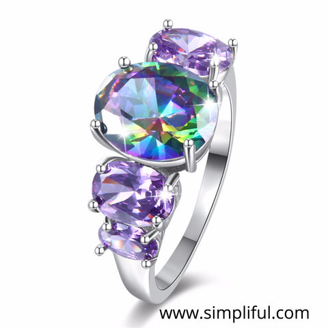 Purplish Multi color Oval CZ Finger ring - Simpliful