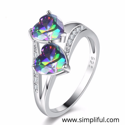 Double heart multi color CZ Finger ring - Design 1 - Simpliful