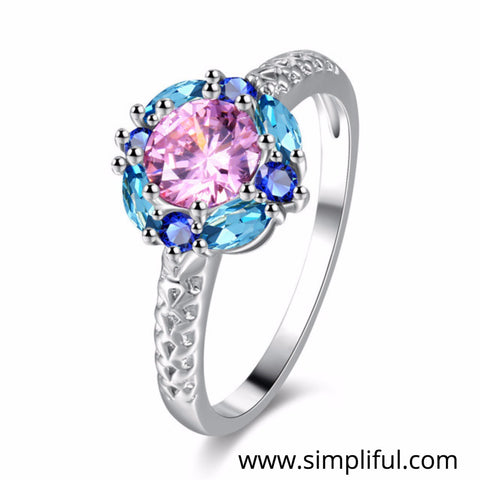 Multi color Flower CZ Finger ring - Simpliful