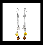 Austrian Crystal embedded Long dangling hook drop Earring - Simpliful