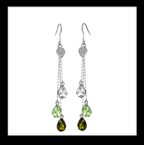 Austrian Crystal embedded Long dangling hook drop Earring