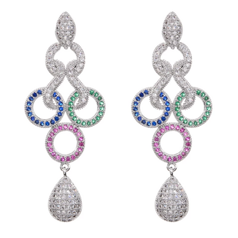Platinum finish micro cz stone designer party wear earring