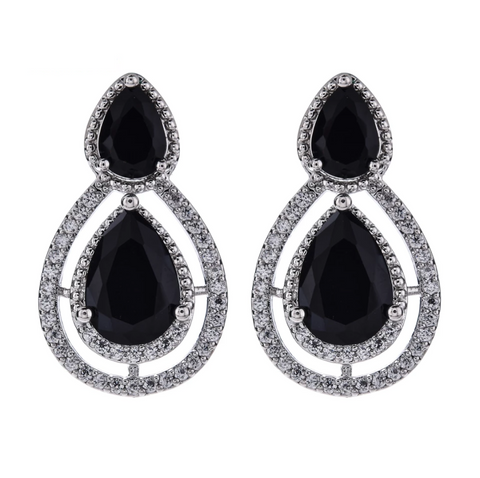 Double tear drop linked design platinum finish cz stone stud earring